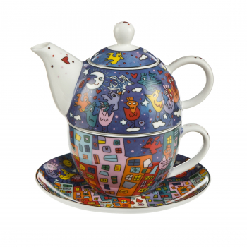 Goebel City Birds Tea for One James Rizzi Künstler Pop Art NEUHEIT 2019 Teetasse mit Teekanne